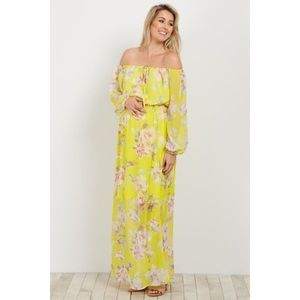 Yellow Floral Off Shoulder Maternity Dress